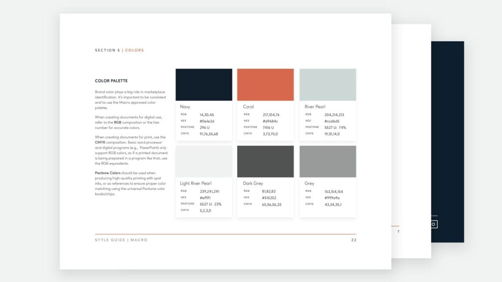 Macro brand guidelines and identity system.